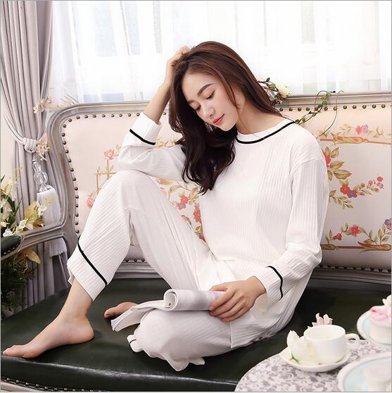 Fdfklak Womens Home Suits Spring Autumn Long Sleeve Pijama Woman Cotton Pyjama Femme Sleepwear Family Pajama Set Nightwear Q473