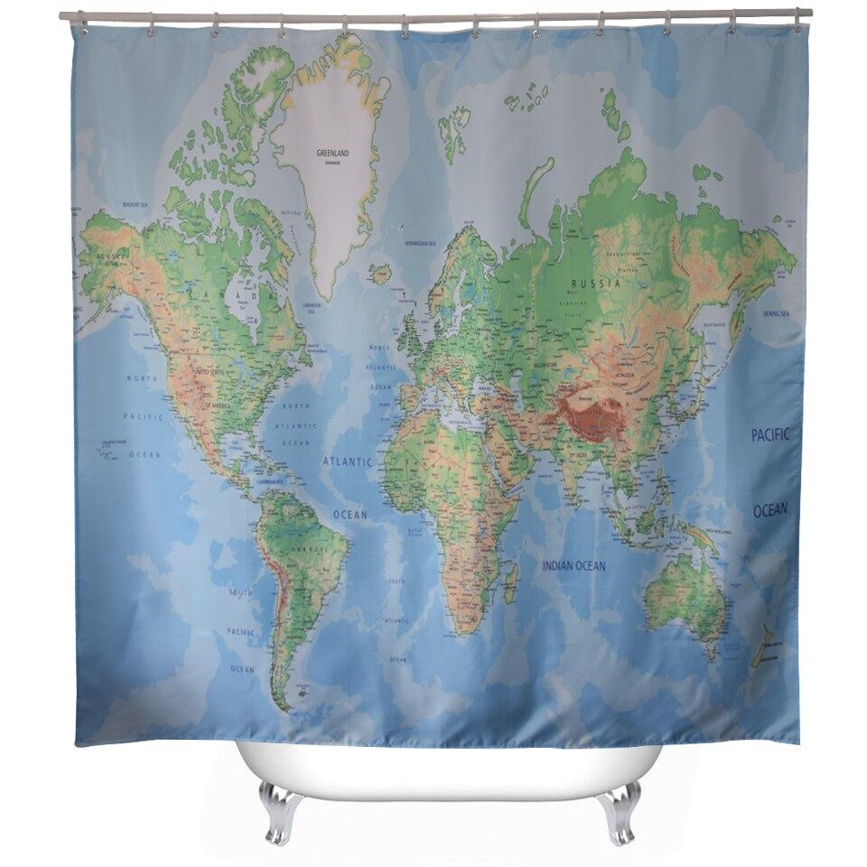 Svetanya Mapa Imprimir Scenic Cortinas De Ducha Productos de Baño Decoración Cua