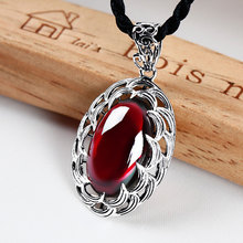 Retro 925 Sterling Silver Pendant Thai silver inlaid Red Garnet or Yellow Chalcedony Pendant for women precious stone jewelry