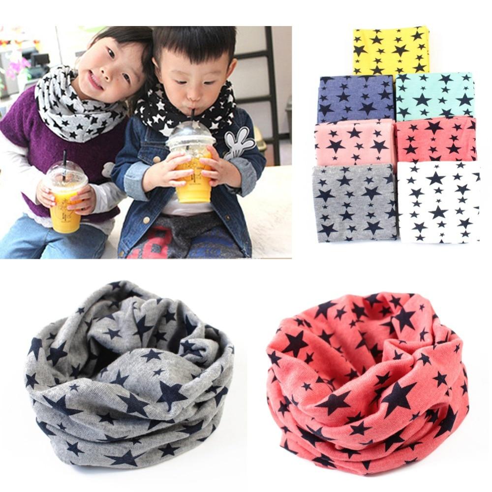 1Pc New Fashion Winter Warm Stars Collar Children O Ring Neck Scarves Cute Baby Girls Boys Print Scarf