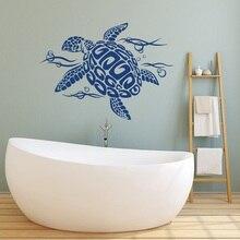 Океанские животные черепахи и пузыри, настенные наклейки, виниловые наклейки для детской комнаты, декор для ванной комнаты, наклейка на стену с черепаховой фауной, YS14