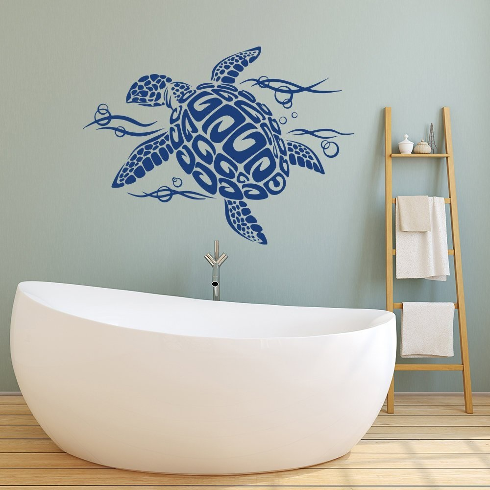 Ocean Animal Turtle and Bubbles Wall Decals Nursery Vinyls Sticker Bathroom Decor Design Fauna Tortoise Wall Decal YS14-in Wall Stickers from Home & Garden