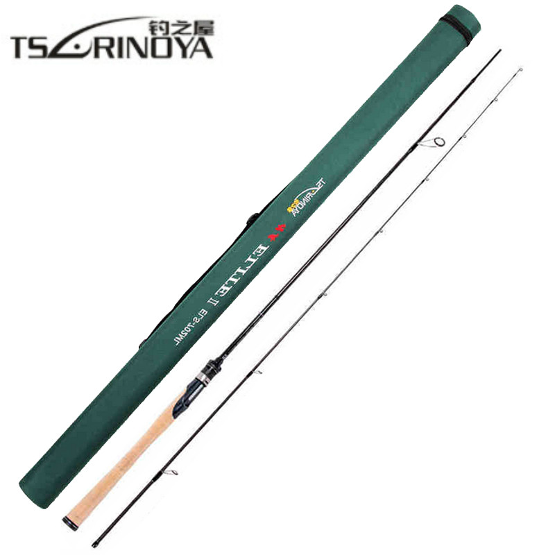цена TSURINOYA Spinning Rod 2.13m 2 Section ML Power Carbon Fiber Lure Fishing Rod Pole Vara De Pesca Lure Weight 4-16g Canne A Peche