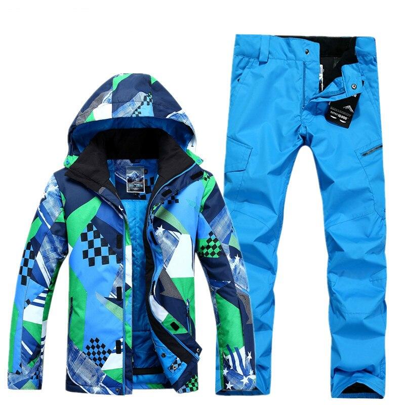 Prix pour NIUMO NOUVEAU costume de ski hommes snowboard veste + pantalon hommes étanche, respirant thermique coton rembourré super chaud