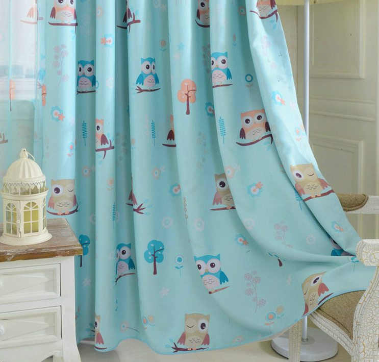 cartoon bird pattern finished blackout curtains for kids children curtains for living room bedroom window curtains