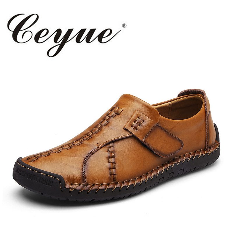 Ceyue Handmade Men Casual Shoes 2017 Autumn Leather Breathable Men Boat Shoes New Fashion Leisure Slip-On Walking Shoes For Male