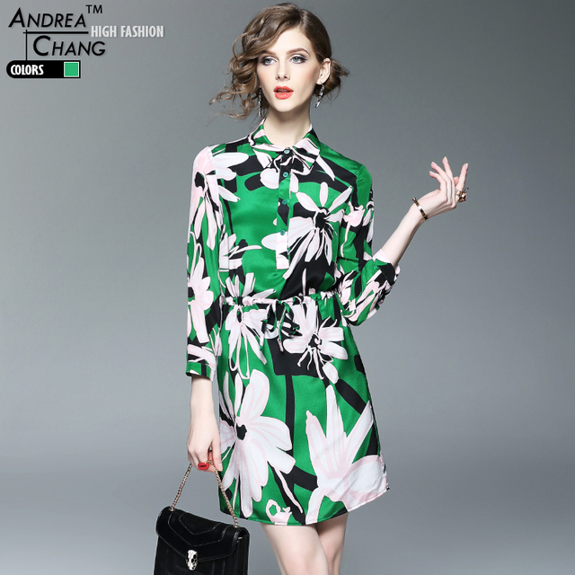 b349c485e0ad7 US $78.07 |spring summer high quality womans dresses green silk dress black  white floral pattern print drawstring waist fashion silk dress-in Dresses  ...