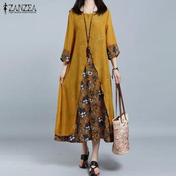 ZANZEA Plus Size Women's Dress Female Chiffion Patchwork Print Vestidos Vintage Baggy Long Dress Woman Holiday Beach Sundress
