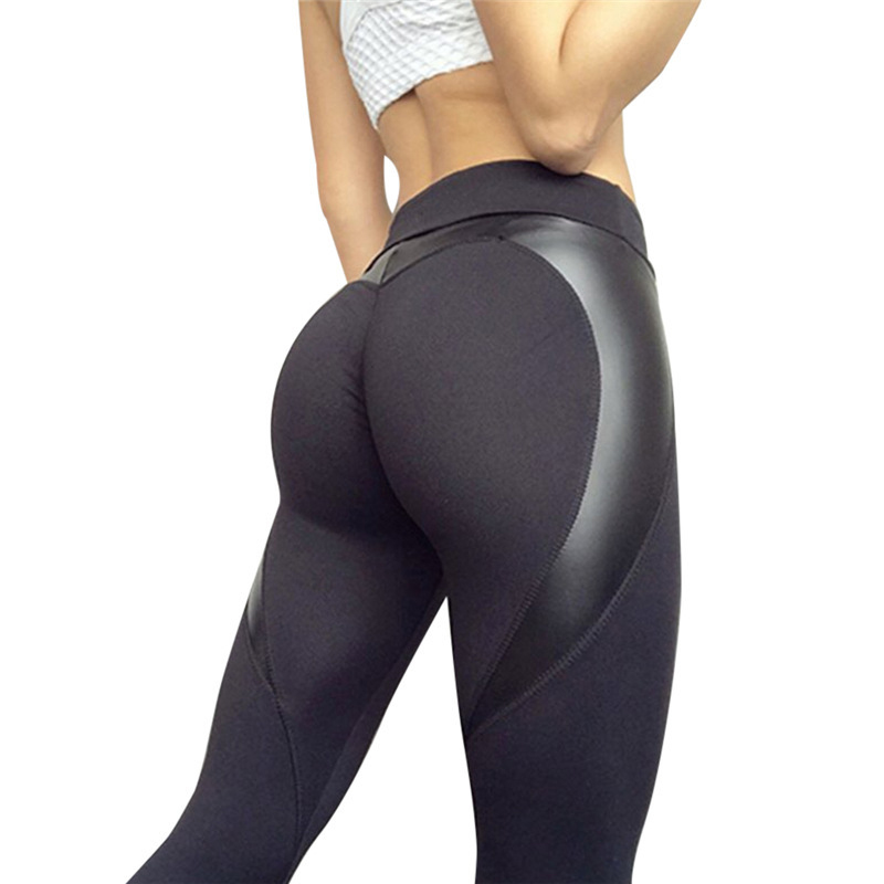 New Sexy Black Heart Shape Booty Leggings PU Leather Patchwork Skinny Long Pants Women Push Up Sporting Athleisure Leggings