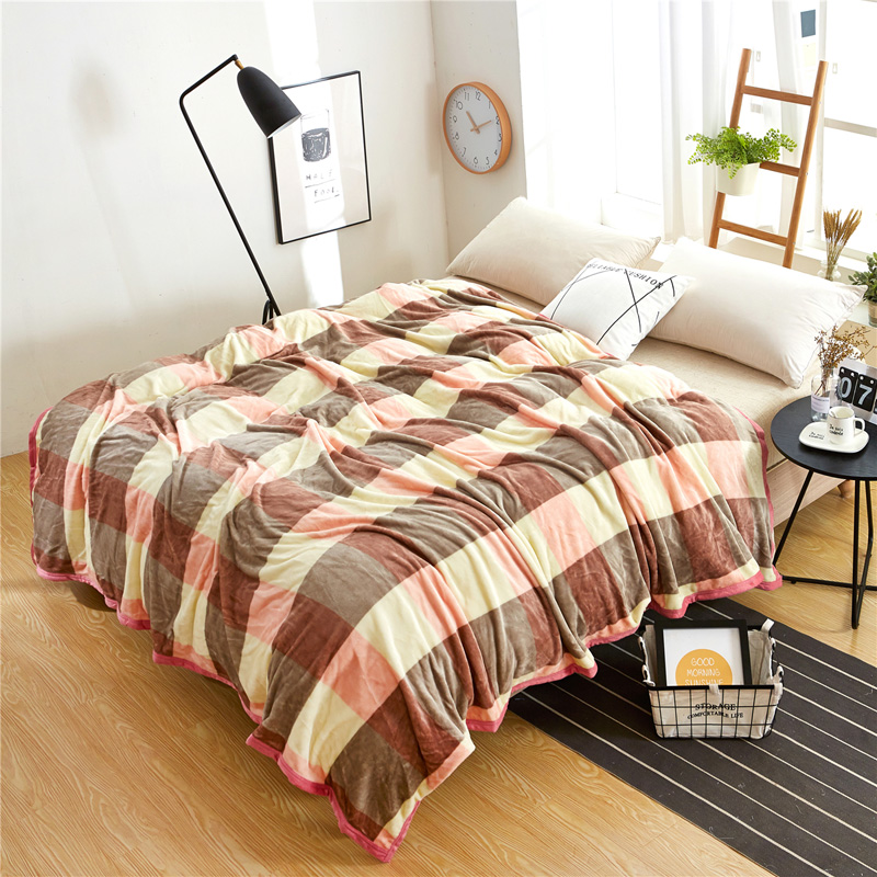Plaid Fleece Blanket On The Bed Blankets For Beds Throw