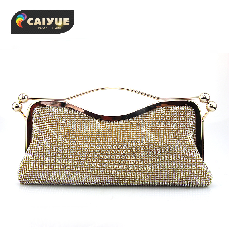 ФОТО 2017 New Crystal Diamond Clasp Clutch bags Glitter Gold Evening bags Day clutch party purse Woman Wedding Handbag With Chain