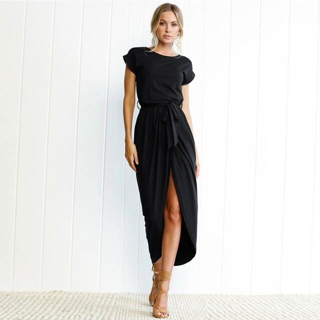 600354a0934d Summer Maxi Long Dress Women Casual Belt Loose Straight Black t shirt  Dresses Female Elegant Sexy Split Streetwear Shirt Dress