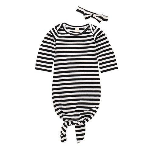 2 Stücke Neugeborenen Baby Mädchen Infant Swaddle Wrap Blanket Schlafsack Nachtwäsche Langarm Gestreiften Baumwolle Stirnband 0-24 Mt