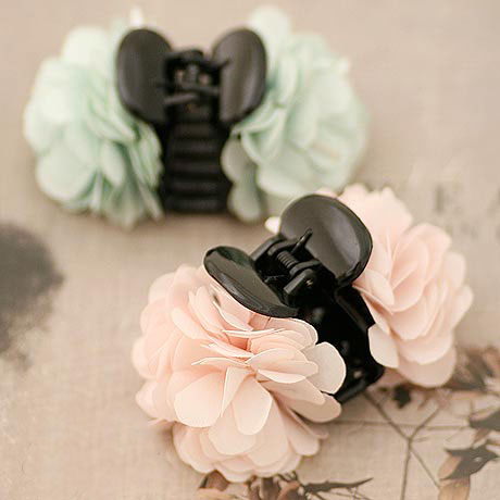 Romance Cherry Blossom Small Size Hair Claw For Girls Silk Flower