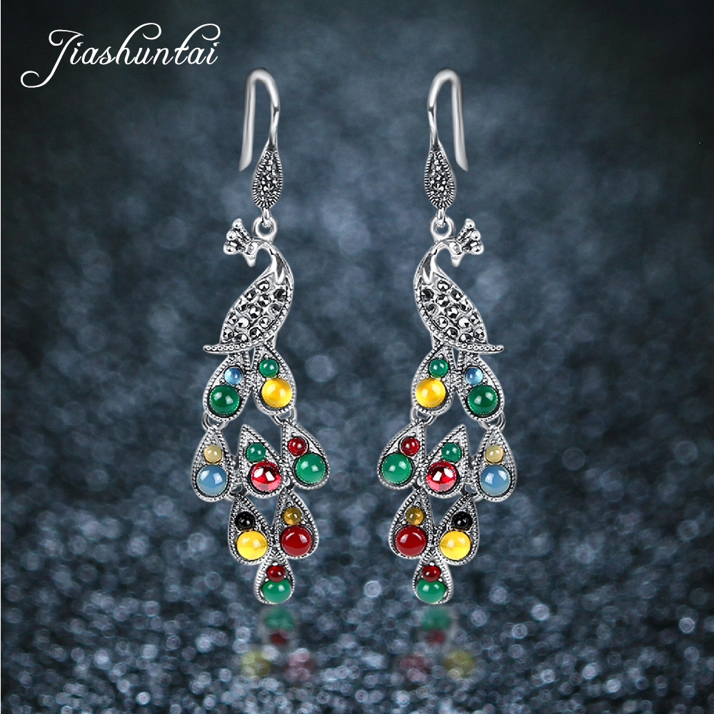 JIASHUNTAI Silver 925 Earrings Vintage Peacock Earrings Colorful Retro 100% Sterling Silver Jewelry For Women Natural Stone shining rhinestone peacock colorful femininity earrings golden pair