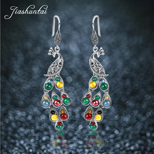 JIASHUNTAI Silver 925 Earrings Vintage Peacock Earrings Colorful Retro 100% Sterling Silver Jewelry For Women Natural Stone