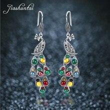 Jiashuntai prata 925 brincos vintage pavão brincos colorido retro 100% prata esterlina jóias para mulher pedra natural
