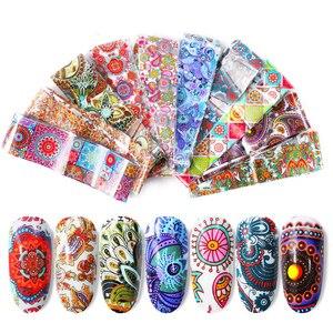 Image 2 - 10pcs 4*20cm Paisley Colorful Nail Foils Nail Art Transfer Sticker Decal Mandala Slider Decals DIY Nail Tips Decorations