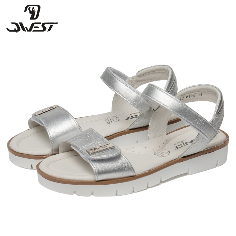 QWEST Brand Arch Leather Insoles Summer Hook& Loop Flat Children shoes Size 32-37 Kids sandals for Girl 81S-JSD-0794 qwest brand leather insoles spring