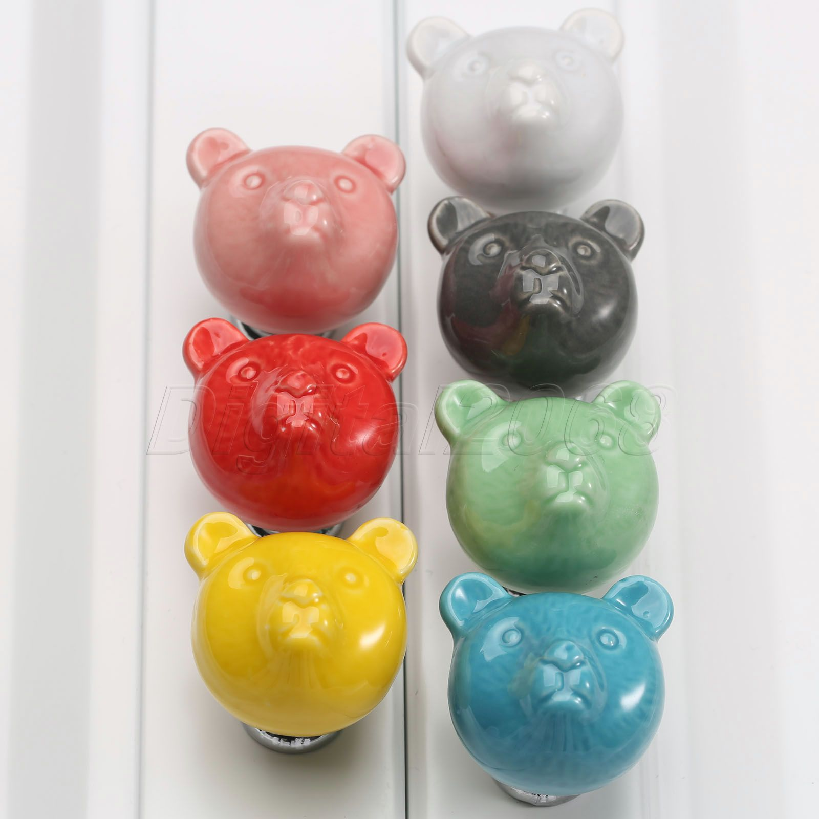 New Good Quality Colorful Ceramic Bear Door Handles Kitchen Cabinet Cupboard Drawer Wardrobe Knobs Pulls 32*38*32mm push to open beetles drawer cabinet latch catch touch release kitchen cupboard new arrival high quality
