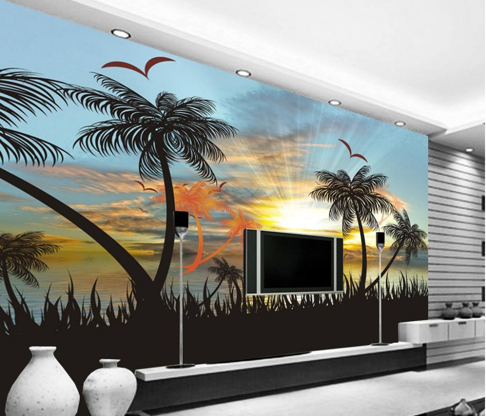 3d wallpaper for room sunset sea view beautiful scenery sofa