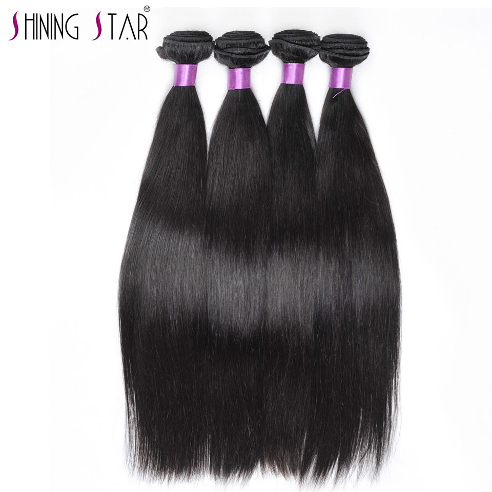 Peruvian Straight Hair 4 Bundles Lot Human Hair Bundles Weave Natural Color Black Shining Star Non Remy Hair Extension NoTangle
