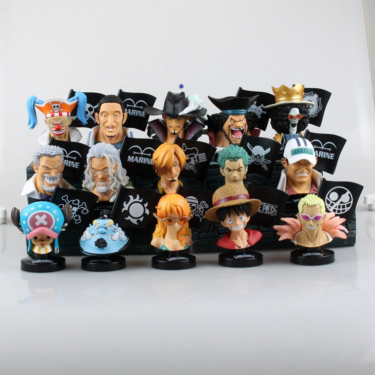 Free Shipping Cute 15pcs One Piece Anime Charactor Head Sculpture PVC Action Figure Set Collection Model Toy (15pcs per set) anime one piece dracula mihawk model garage kit pvc action figure classic collection toy doll