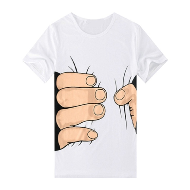 Men Funny 3D Printed White T-Shirt Big Hand Grasping Your Waist Pattern T Shirt O-Neck Short Sleeve Casual Tees Hip Hop Tops 3