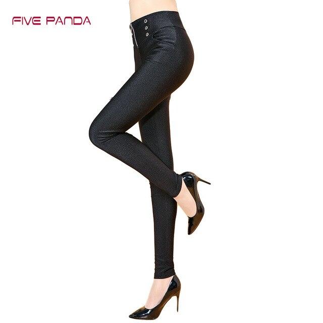FIVE PANDA 2017 Velvet Thick Luster Pants Warm Black Leggings Women Casual Elastic Slim High Waist Button Balck Leggins CNDK015