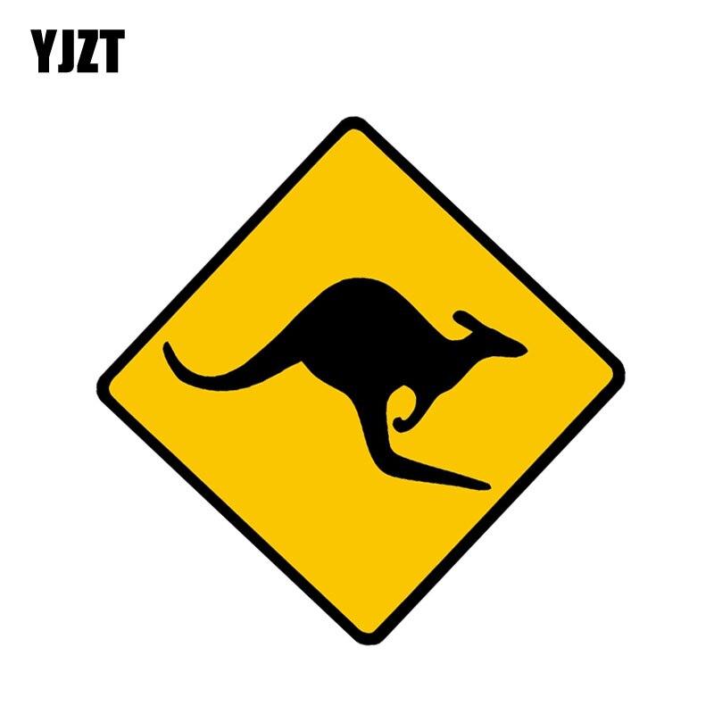 YJZT 12.7CM*12.7CM Personality Kangaroo Caution Decal Animal Car Sticker PVC 12-1254