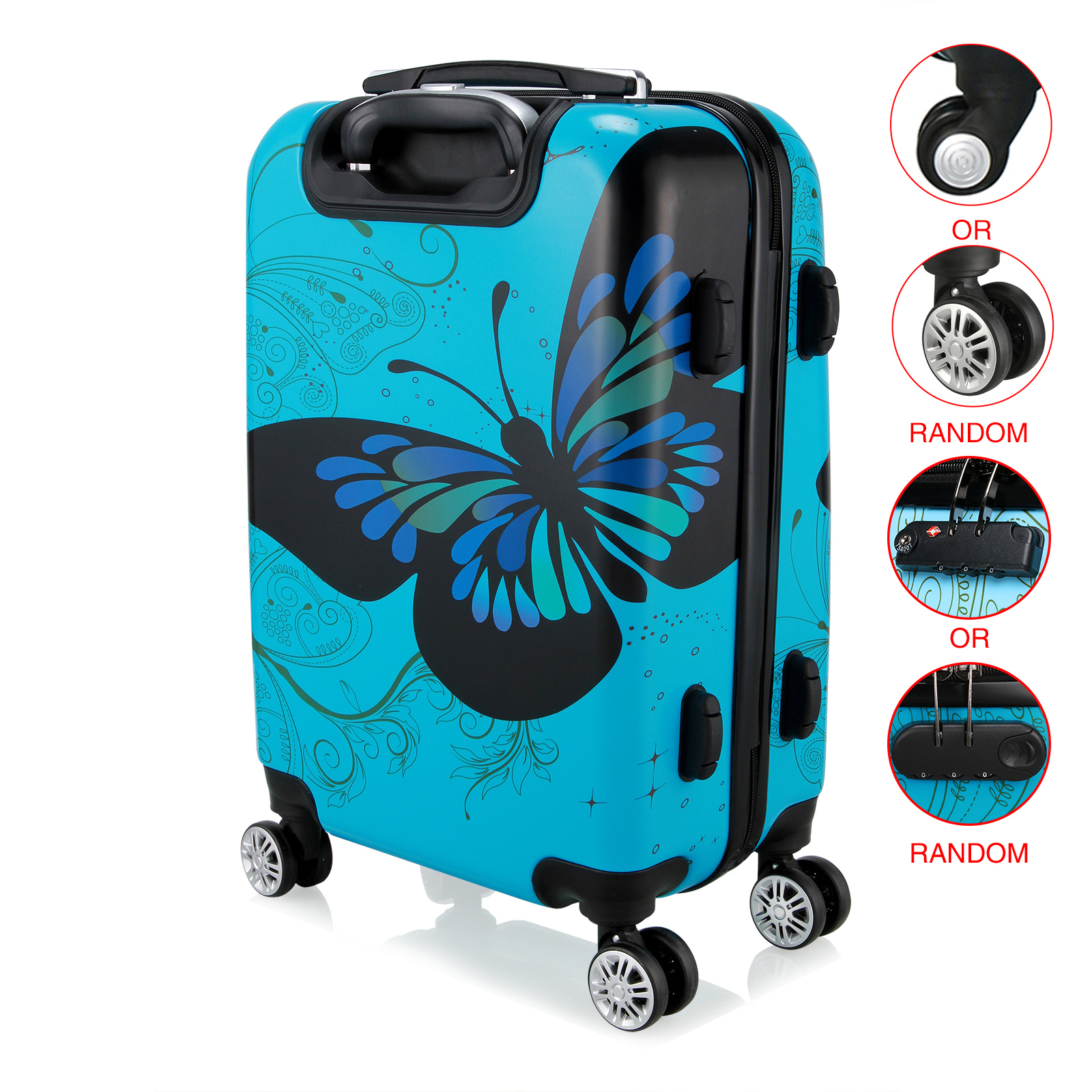 28 inch Unisex Trolley Luggage 4 Wheel Spinner Carry On Luggage Suitcase Butterfly PC Travel Trolley-in Rolling Luggage from Luggage & Bags    2