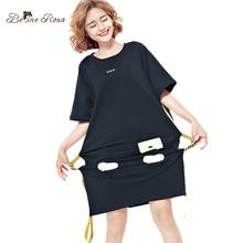 BelineRosa 2017 Summer Women's Shirt Dress European Street Style Fashion Black Sashes Tunic Women's Plus Size Dress TYW00451