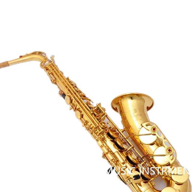 82Z Marca Saxofón alto Mib Sax Instrumento Musical Electroforesis Profesional Oro Grado Oro Laca Saxo alto Boquilla