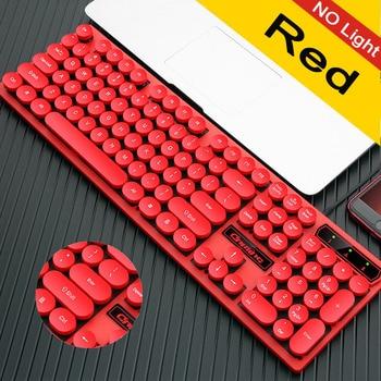 Wired Backlit Keyboard Retro Round Key Cap Universal Gaming Desktop Notebook Wired USB Illuminated Punk Steam Retro Keyboard 6