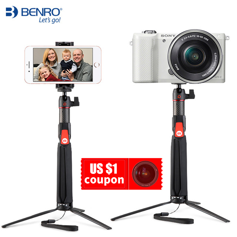 BENRO SC1 en fiber de carbone mini Trépied monopode de bâton de selfie portatif Bluetooth pour Smartphone Actioncamera Gopro Android xiaomi Sony