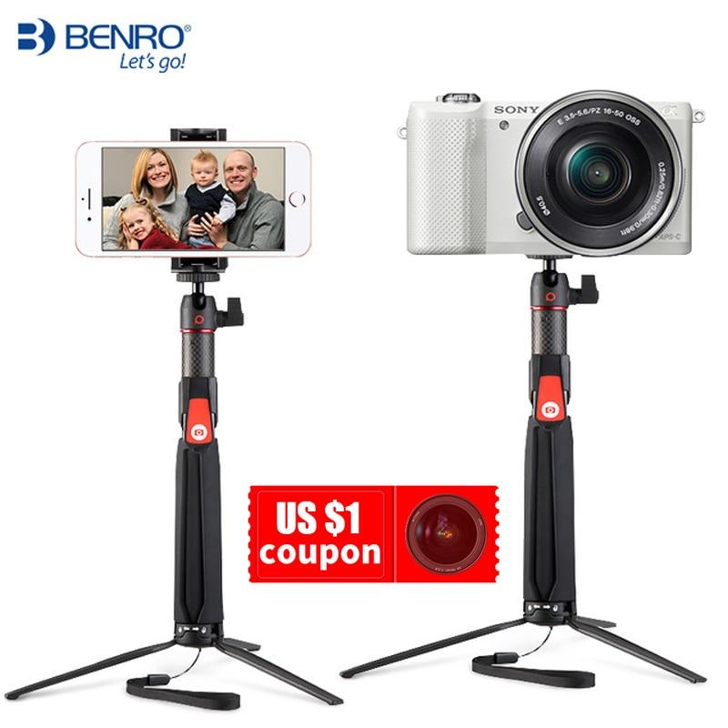 BENRO SC1 炭素繊維ミニ三脚一脚ポータブル selfie スティック用の bluetooth スマートフォン Actioncamera 移動プロアンドロイド xiaomi ソニー  グループ上の 家電製品 からの 自撮り棒 の中 1