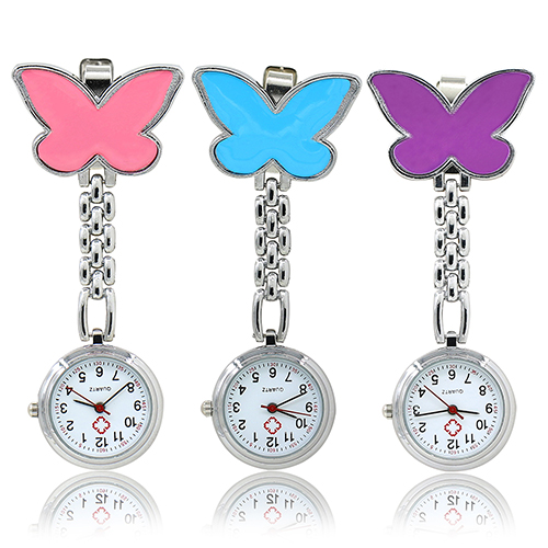 Womens Cute Pendant Butterfly Nurse Clip-On Brooch Quartz Hanging Pocket Watch Birthdays Gifts