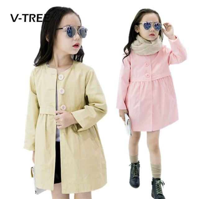 V-Tree Новый Куртка для девочек на осень и зиму мода подростков пальто для девочек верхняя одежда детская школьная детский плащ Одежда От 3 до 12 лет