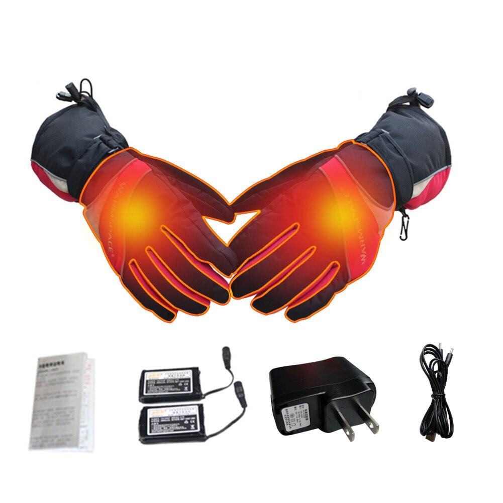 Открытый Термальность Электрический Теплый Водонепроницаемый перчатки с подогревом Батарея питание для мотоцикла Охота Лыжный спорт перч...
