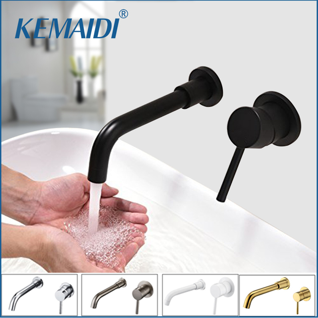 KEMAIDI Wall Mount Brass Basin Faucet Single Handle Mixer Hot Cold ...