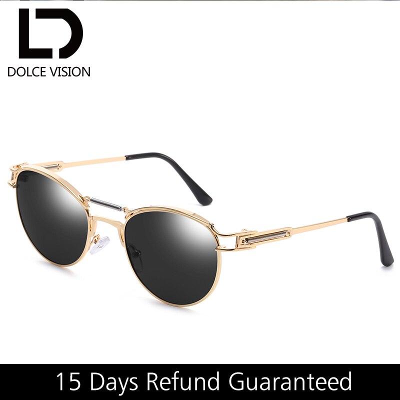 DOLCE VISION Alloy Pilot Sunglasses Women Spring Brand Design Shades Gold Frame Ladies Sunglasses Black Mirrored Oculos Female