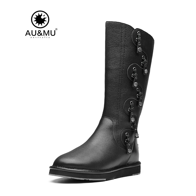 2017 AUMU Australia Leather Sheepskin Slip-on knee-high Snow Winter Boots UG N723 2017 aumu australia women classic short sheepskin elastic suede winter snow boots ug ny082