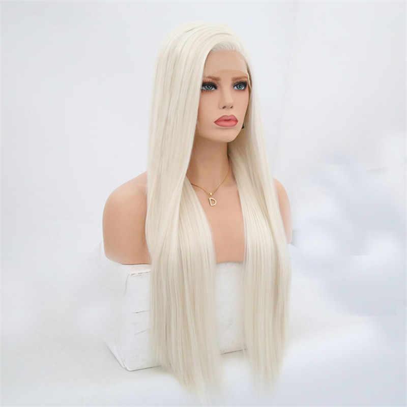 Peluca frontal RONGDUOYI n. ° 60 de encaje sintético y platino para mujer, peluca de cabello lacio de seda larga, pelo de fibra resistente al calor, peluca Blonded