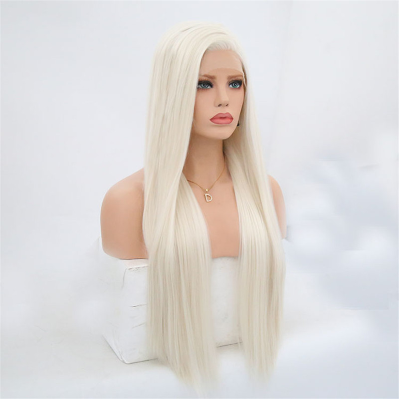 Image 3 - Rongduoyi #60 Platinum Blond Synthetic Lace Front Wigs For Women Silky Straight Side Part Heat Resistant Long Blonded Hair Wig-in Synthetic None-Lace  Wigs from Hair Extensions & Wigs