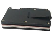 Artmi Mens Slim Money Clip Light Name  Holder Aluminum RFID Blocking Card Case Compact Front Pocket Wallet
