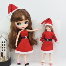 Christmas Dress Suit for 1/6 BJD Doll as For 29cm Doll Red Dresses Shoes Hat  Doll Accessories Gift for Girl цена и фото