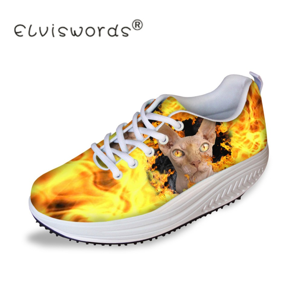 ELVISWORDS Women Casual Shoes Canadian Cat Printed Teenager Gilrs Slimming Swing Shoes Female Platform Increasing Shoes Zapatos