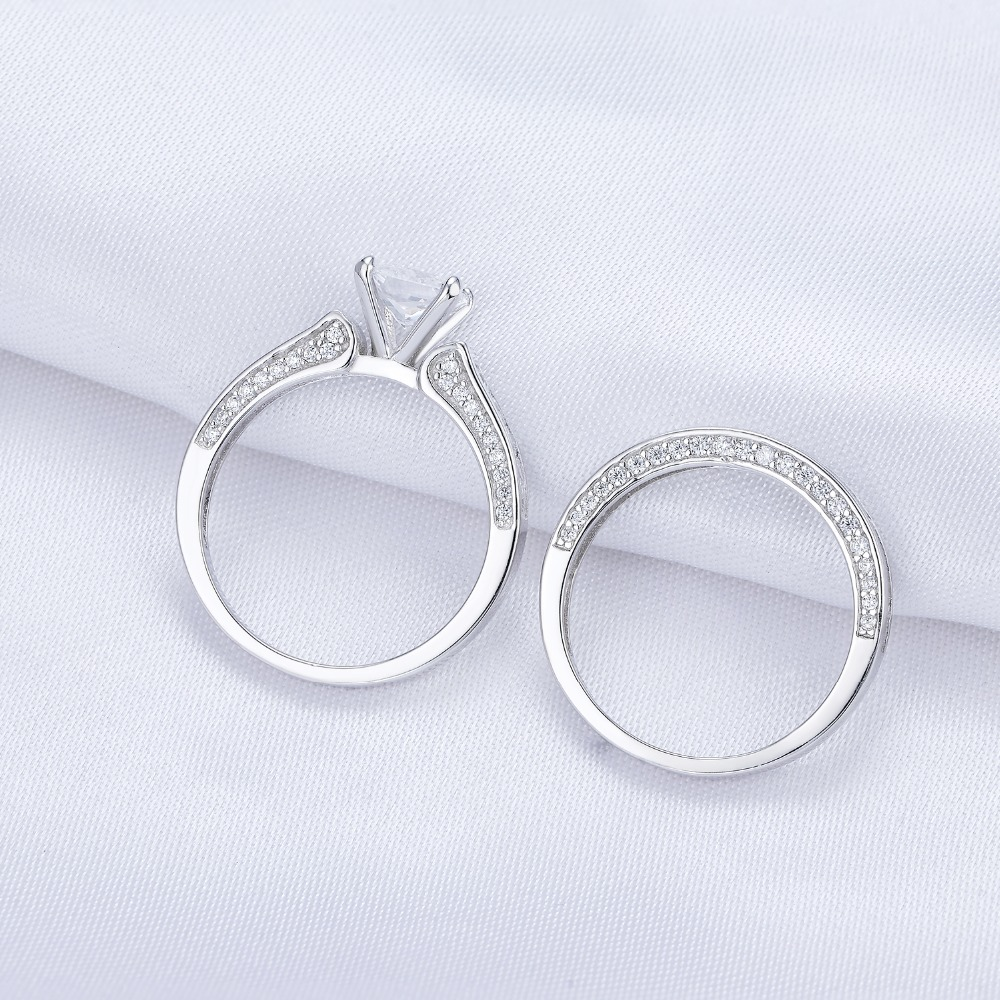 2.96 Ct Princess Cut White AAA CZ 925 Sterling Silver Wedding Rings