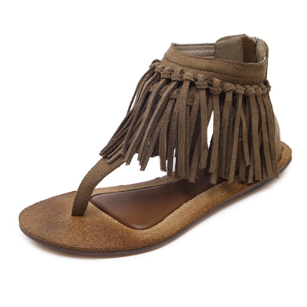 Sandalia Feminina summer women sandals vintage fashion flat shoes female ladies tassel faux suede ankle strap