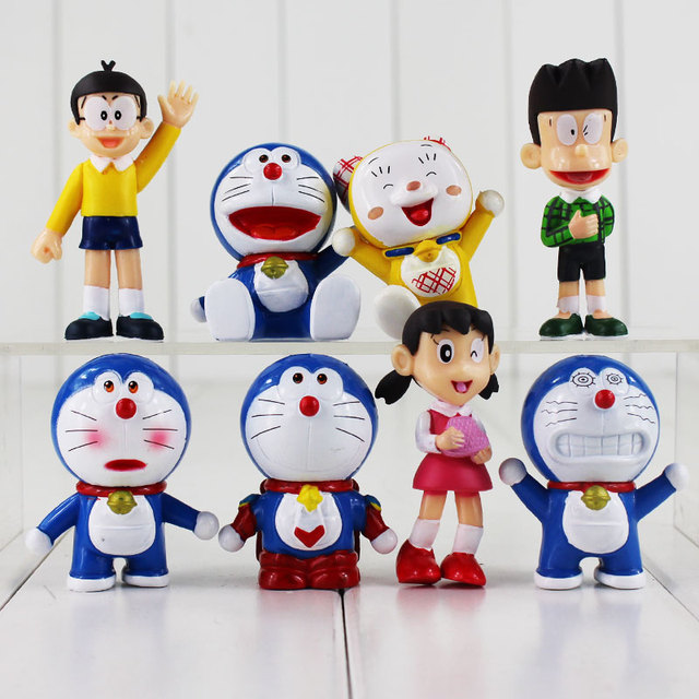 8pcs set new arrival anime doraemon action figures toys 10cm cute
